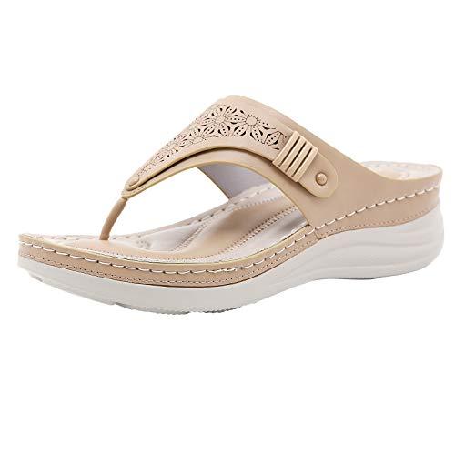 URIBAKY - Pantofole da donna, vintage, motivo floreale, con slip su slip On Wedge, con chiusura a flip flop, scarpe antiscivolo da spiaggia chic, Beige (beige), 37 EU