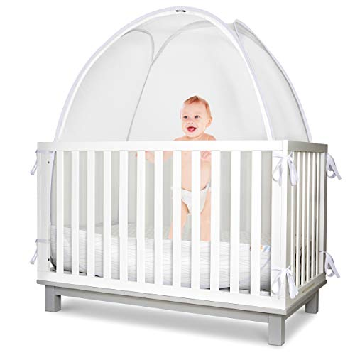 KinderSense - Baby Safety Crib Tent - Premium Toddler Crib Topper to Keep Baby from Climbing Out - See Through Mesh Crib Net - Mosquito Net - Pop-Up Crib Tent Canopy to Keep Infant in