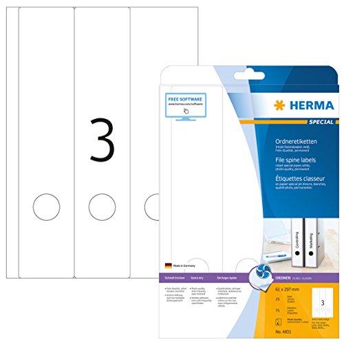 HERMA 4831 Ordnerrücken Etiketten für Inkjet Drucker DIN A4 breit/lang (61 x 297 mm, 25 Blatt, Papier, matt) selbstklebend, bedruckbar, permanent haftende Ordneretiketten, 75 Rückenschilder, weiß