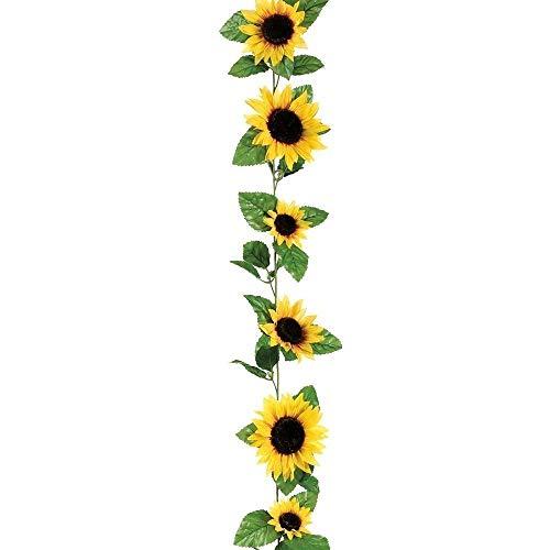 BSGP 1 Stück Seiden-Sonnenblumen-Girlande in Gelb 1,8 m lang mit 12 Blumen künstliche Blumenranken für Zuhause, Hochzeit, Garten, Party-Dekoration
