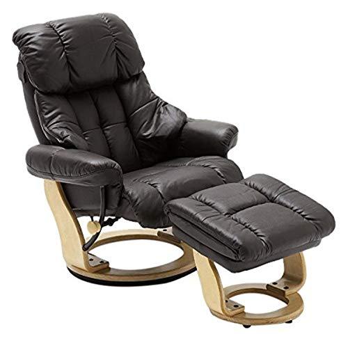 Robas Lund Sessel Leder Relaxsessel TV Sessel mit Hocker bis 130 Kg, Fernsehsessel Echtleder braun, Calgary