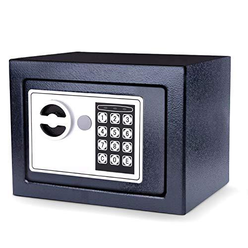 Hopekings Cassaforte piccolao,Cassaforte Elettronica con chiave per apertura d'emergenza,Cassaforte a muro,230 x 170 x 170 mm,Nero