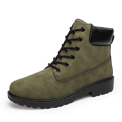 Botas de Moda de Cuero Suave Zapatos Casuales de otoño e Invierno Botas de Trabajo Zapatos Antideslizantes Impermeables