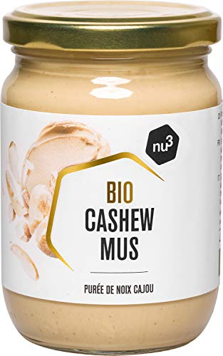 nu3 Purée de Noix de Cajou Bio 250g - Noix de cajou de qualité crue sans sel, sucre, huile ajoutés - Délicieuse alternative sans huile de palme à la pâte à tartiner - Noix issues de l'agriculture Bio