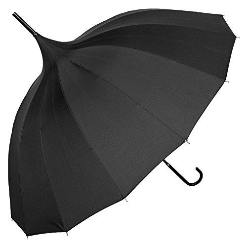 Parapluie Canne Pagode Noir pour Femme - Idéal pour Mariage et Cérémonie - Parapluie Original - Système Ouverture Automatique - 12 Baleines - Excellent Rapport Qualité Prix - Susino