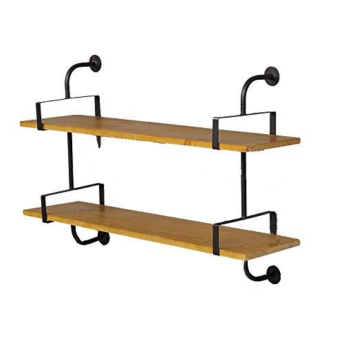YLCJ Boekenkast Float Retro stijl decoratieve wandplank ijzer + hout display planken 2 lagen planken een verscheidenheid (grootte: 120 * 25 * 75 cm)
