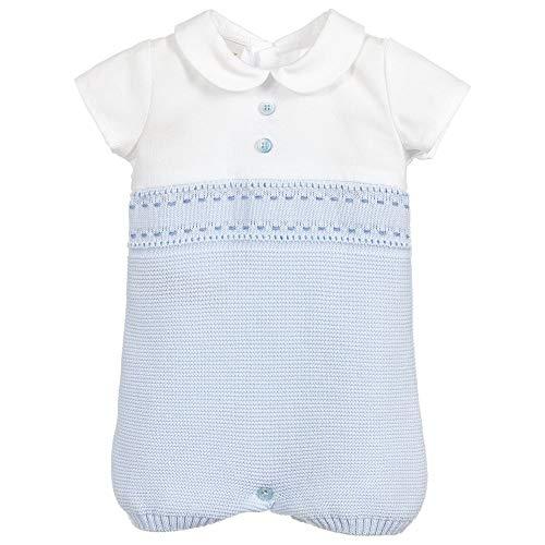 PAZ Rodriguez - Pelele de punto para bebé, color blanco blanco/azul 12 Meses