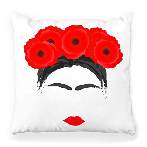 Soft Square Pillow Cover 20x20 Modern Woman Wreath Poppy Hair Frida Abstract Kahlo Beauty Black Blossom Brush Colorful Day Home