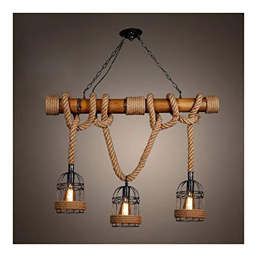 FFF-Iluminación de techo interior Simple retro moderno de la lámpara, creativo Industrial viento pasillo del pasillo del dormitorio Bar Cordel Cuerda 3 Jefes pendiente de la luz con la jaula de la Gua