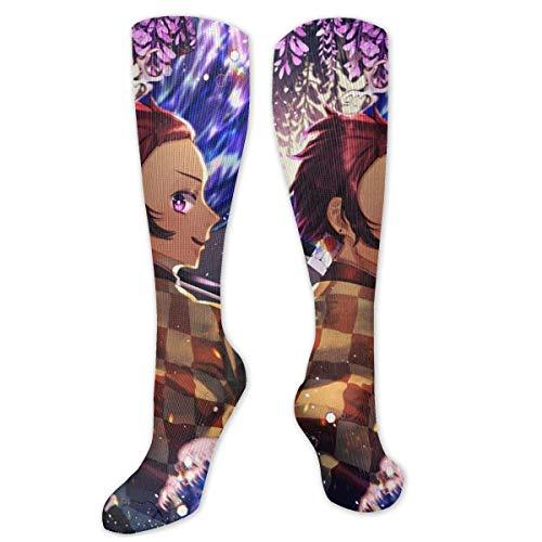 Kimetsu No Yaiba Shinobu Kocho Calcetines de compresin unisex Calcetines hasta la rodilla Calcetines largos de tubo
