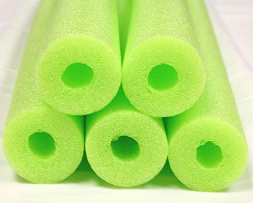 Fix Find - Pool Noodles - 5 Pack of Large 52 Inch Hollow Foam Pool Swim Noodles | Lime Green Foam Noodles