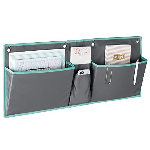 mDesign Organizador Colgante para Puerta – Práctico Sistema de almacenaje en Tela – Colgador de Puerta con Bolsillos Grandes y pequeños – Organizador de Escritorio y Oficina – Gris/Azul Verdoso