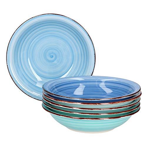 MamboCat Blue Baita 6x Suppen-Teller blau I robustes blaues Steingut-Geschirr für 6 Personen I 6er tiefe Teller-Set mit modernem Strudel-Dekor in tollen Blautönen I blaue Teller tief 6 Stück