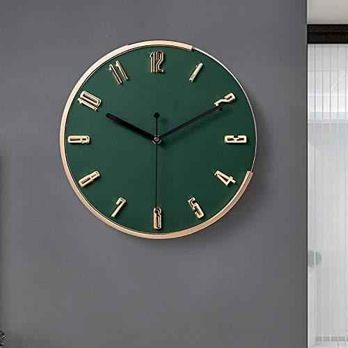 JFFFFWI Relojes de Pared con números estéreo 3D, Reloj de Pared Digital Creativo de aleación clásica nórdica para Oficina en casa, Cocina, 12 Pulgadas, Verde Militar, diámetro 31 cm (12 Pulgadas)