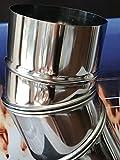 Weltlux Edelstahl Schornstein Premium Abgasrohr EW einwandig 0,6mm Wandstärke T 600- T-Anschluss Winkel Reinigungselement Regenhaube wählbar (Ø 120 mm, Element: Bogen verstellbar 0-90°)