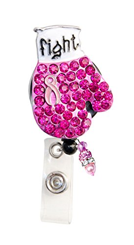 Sizzle City New Custom Bling Rhinestone Breast Cancer Awareness Pink Ribbon Boxing Glove Badge Reel Retractable ID Badge Holder || Black Backing (Black Backing)