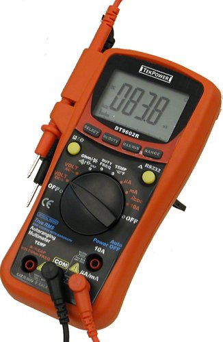 Tekpower DT9602R True RMS Auto/Manual Digital Multimeter with RS232 Optical Interface, Computer Connected