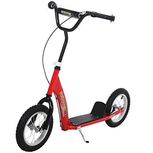 HOMCOM Patinete para Niños Mayores de 5 Años Scooter 2 Neumáticos Inflables de Caucho con Frenos Manillar Ajustable Plataforma Antideslizante 117x52x80-85 cm Rojo