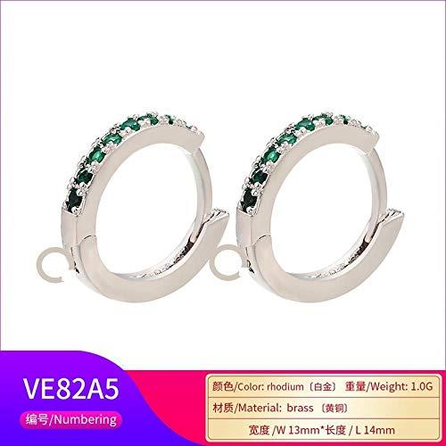 SHUX Ohrringe mit Creolen Zubehör Micro-Set Ohrringe Zubehör Ohrringe Mehrfarbige Ohrringe mit Creolen, Platin Diamant