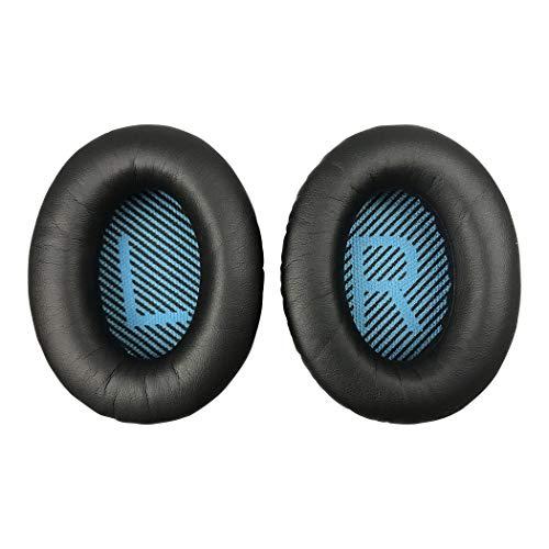 Replacement Ear-Pads for Bose QuietComfort QC 2 15 25 35 Ear Cushions for QC2 QC15 QC25 QC35 SoundLink/SoundTrue Around-Ear II AE2 Headphones (Black Cushion+Blue Scrim) (Renewed)