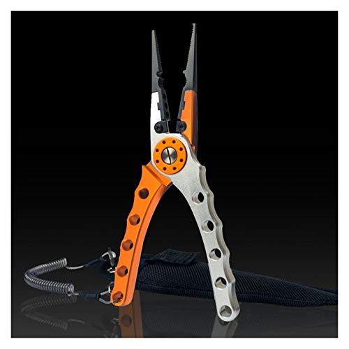 LINMAN Aluminiumlegierung Angelgriff und Zangen Angeln Schneidezange Griff Faltlänge 28,5 cm Multifunktionszange Haken (Color : Orange)