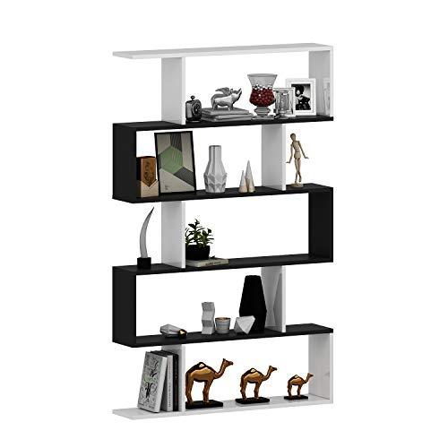 HOMIDEA Core Librería - Estante de almacenamiento - Estante para libros - Estante para oficina / sala de estar de Le Design Moderne (blanco / negro)