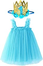 BGFKS Tutu Dress for Baby Girl 1st Birthday Photography Outfit Sets, Dress for Toddler Girls with Lace Rose Flower Crown.(Blue)