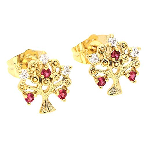 Pendientes con forma de árbol de la vida de cristal rosa y blanco, oro amarillo 750 laminado*