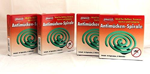 Anti-Mücken-Spiralen von Braeco Mückenspirale Insektenspirale Mückenspiralen - Anti Mücken Spirale / Anti-Mückenspirale/ Insekten-Spirale / Moskitospirale / Insektenvernichter / Antimückenspirale / Mückenfalle (4 Packungen)