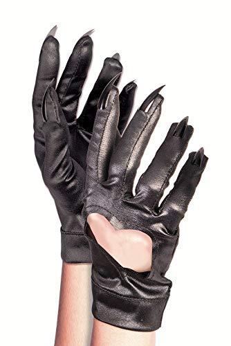 shoperama Schwarze Handschuhe mit Herzausschnitt und Krallen Kostüm-Zubehör Katze