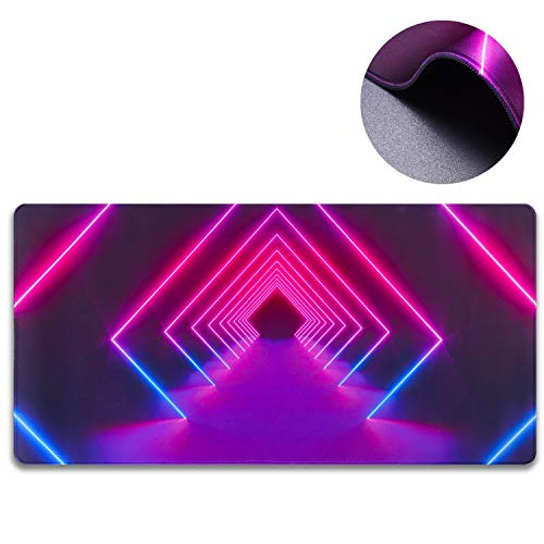 GDBT Gaming Extended Mouse Pad with Stitched Edges,Large Mousemat with Non-Slip Rubber Base,3mm Thick Waterproof Laptop Computer Keyboard pad for Gamer,rgb Desk Pad for Premium-Textured,800x400,Dazzle