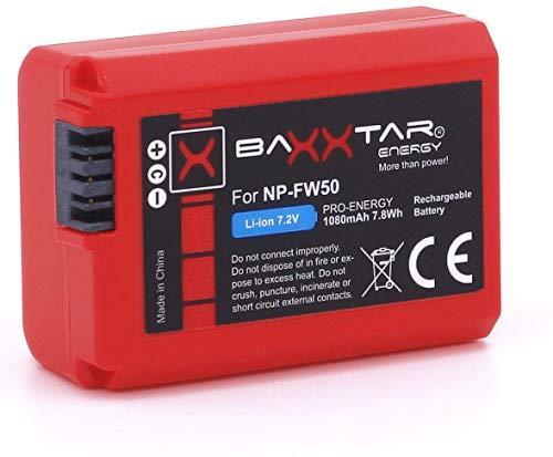 Baxxtar Pro - Ersatz für Akku Sony NP-FW50 (echte 1080mAh) mit Infochip - Sony Alpha 5000 5100 6000 6100 6300 6400 6500 NEX 3 5 6 7 Alpha 7 7II 7R 7RII 7S II III A33 A35 A37 A55 A3000 CyberShot DSC RX10 ..