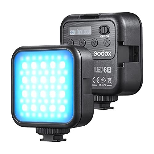Explopur LITEMONS LED6R RGB Luz de Video LED Recargable Mini luz de Relleno 3200K-6500K Regulable 13 Efectos de iluminación Adsorción magnética con 3 Soportes de Zapata fría para Vlog Live Streaming