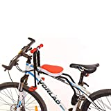TONGJI Front Mount Child Bicycle Seat with Armrest and Foldable Pedal, Safely Stable
