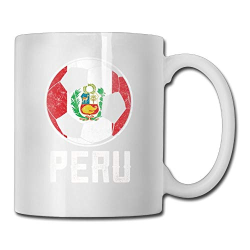 Taza de café personalizada del fútbol de la bandera de Perú taza de té clásica masculina de los regalos de cerámica de 11 onzas
