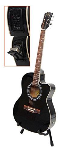 ts-ideen 4570 Elektro Akustik Westerngitarre schwarz mit 4 Band EQ Pickup/Tonabnehmer und Zubehörset: gepolsterte Tasche, Gurt, Ersatzsaiten und Stimmpfeife