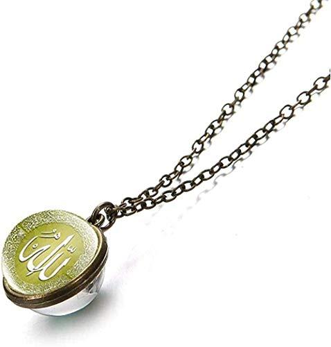 CAISHENY Musulmán islámico Dios Allah Collar 16 Mm Bola de Cristal de Doble Cara Colgante Clavícula Collar de Cadena de eslabones de Metal Collar de Regalo religioso Longitud 50 cm