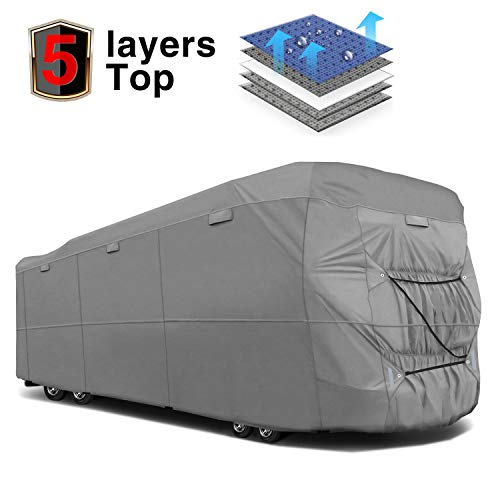 RVMasking Extra-Thick 5-ply Class A RV Cover, Fits 38'1'' - 42' RVs - Breathable All Weather Ripstop Anti-UV Class A Cover 15 PCS Windproof Buckles & Adhesive Repair Patch(25.4'&59')