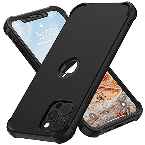 """ORETECH Coque Compatible avec iPhone 12 Pro Max, avec 2 x Protecteur D'écran en Verre Trempé Housse Hybride Robuste 2 en 1 Antichoc Anti Rayures PC TPU Etui pour iPhone 12 Pro Max 6.7"""" Noir"""