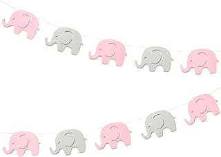 10 Feet Pink Elephant Garland Baby Shower Decorations Baby Girl Elephant Banner Decorations Party Supplies Baby Nursery Decorations Birthday Party Decorations Pink Gray Elephant 4 Inches 17 Pieces