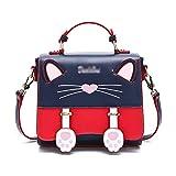 Teng Peng - Bolso de mano para mujer, reclinable, diseño de gato, portátil, con personalidad de moda, bandolera, color B, tamaño: 23,5 x 9 x 21 cm
