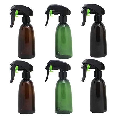 Uonlytech - 6 botellas de plástico para salones con pulverizador de agua vacío, recargables, con bola de acero (negro, marrón, verde, 2 unidades para cada color)