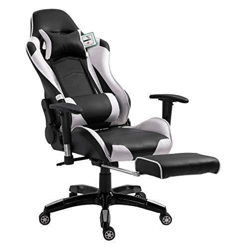 Nero + Rosso OUTAD Sedia Gaming Ergonomica Sedie da Gaming Girevole con Rotelle Ufficio da Scrivania Poltrona,Altezza Regolabile e Supporto Lombare