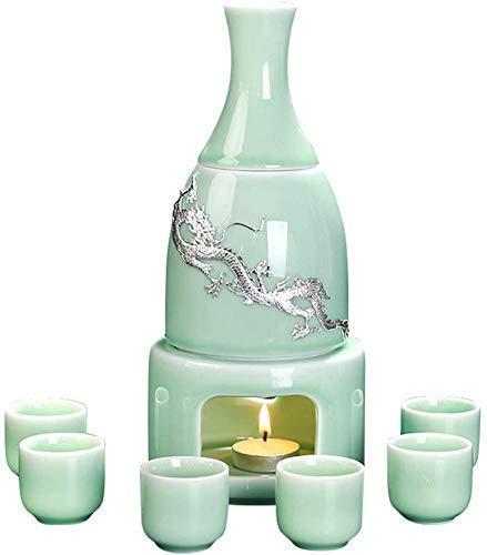 WWXL Juego de Sake, Juego de Sake de 9 Piezas, Juego de Copas de Vino Celadon con Calentador y Estufa de Vela, Copas de dragón Plateadas con Incrustaciones, para frío/Calor/Shochu/té,