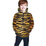 XCNGG Teen Sweater Boy Sweater Girl Sweater Sudadera con Capucha Animal Print Black Tiger Gold Unisex Hooded Sweatshirts Tops Pullover Autumn and Winter