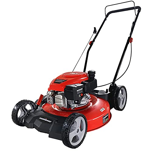 PowerSmart Push Lawn Mower Gas Powered - 21 Inch, Side Discharge and Mulching Lawn Mower with 144cc...