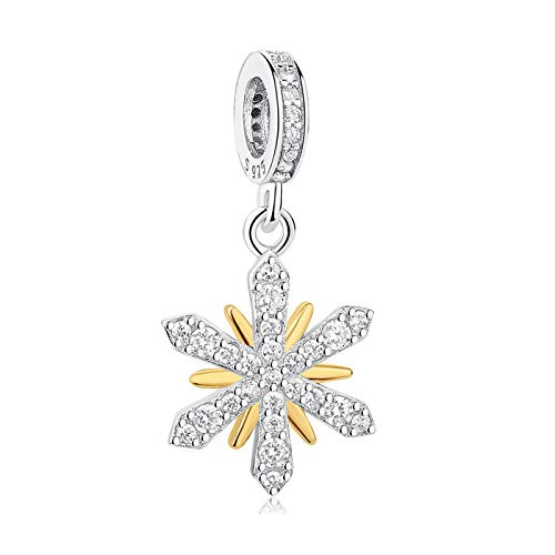 Diy European 925 Sterling Silver Beads Crystal Gold Snowflake Charms Fit Original Bracelet Jewelry Christmas Gift