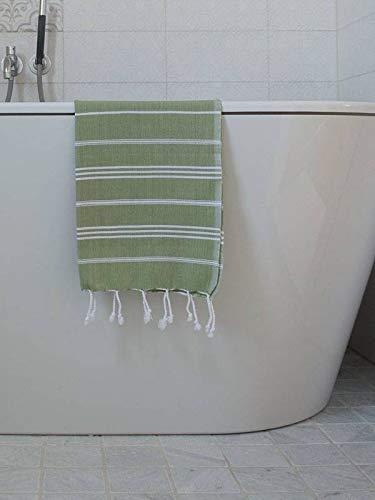 Hamam Handdoek Mosgroen Met Witte Strepen 100x50cm - sneldrogende handdoeken - saunadoek - kleine hamamdoek - reishanddoek - zwem handdoek