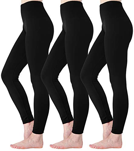 Diravo Fleece Lined Leggings Womens Fashion High Waist Tummy Control Leggings for Women Winter Warm (3 Pack-Black)