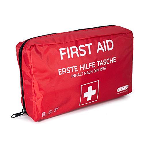 Erste-Hilfe-Tasche für Betriebe, Zuhause und Unterwegs | Inhalt nach DIN 13157 | rot | Verbandtasche gefüllt | Erste-Hilfe-Koffer | Verbandkasten | Erste Hilfe Kasten